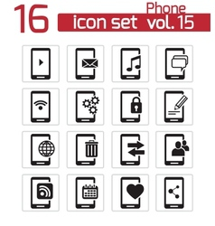 black mobile phone icon set vector image