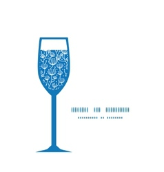 blue white lineart plants wine glass vector image vector image