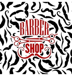 Barbershop symbol with scissors and moustaches vector image