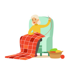 grandmother sewing sitting in a chair colorful vector image vector image