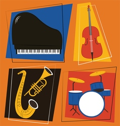 Jazz instruments set vector