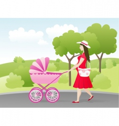young mother with stroller vector image