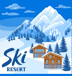 Alpine chalet houses winter ski resort vector