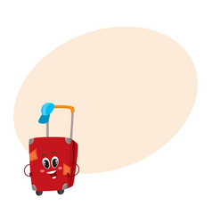 big red suitcase character with many labels vector image