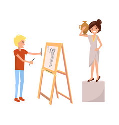boy drawing still life picture of woman with vase vector image