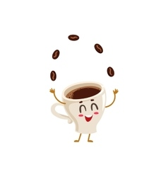 Funny energetic espresso cup character juggling vector image