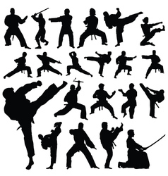 martial art sports silhouettes vector image