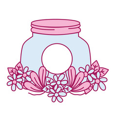 Mason glass with flowers and leaves decoration vector