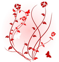 Pink floral background vector image vector image
