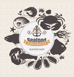 seafood emblem with sea inhabitants and lettering vector image