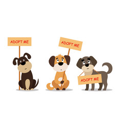 set of sitting and standing dogs with a poster vector image