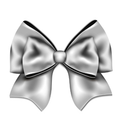 Silver gift bow isolated on white background vector image vector image