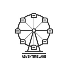 adventureland icon with black ferris wheel vector image vector image