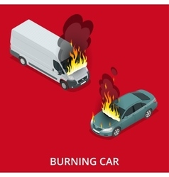 Burning car on the road Fire suddenly started vector image