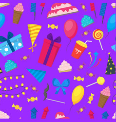 cartoon party holiday background pattern on a vector image vector image