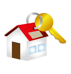 colorful key with key chain in house shape vector image