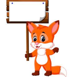 Cute fox cartoon vector
