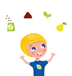 cute gardener with plant icons vector image