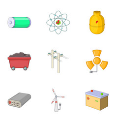 energy resource icons set cartoon style vector image