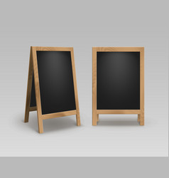 set of wooden advertising stands sidewalk signs vector image