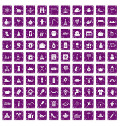 100 family tradition icons set grunge purple vector image
