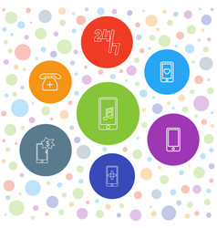 7 telephone icons vector image