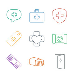 9 aid icons vector