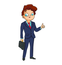 a man in a business suit holds a briefcase and vector image