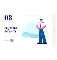 airline crew website landing page smiling pilot vector image