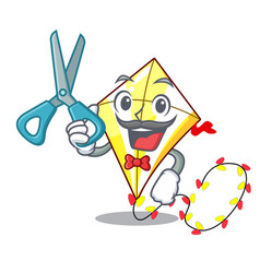 Barber kite cartoon fly away in sky vector