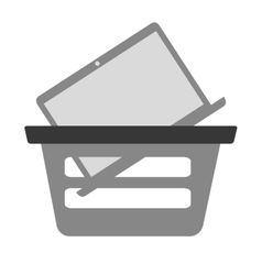 Basket buying online laptop device gray color vector