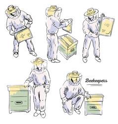 Beekeepers set vector