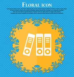 binders icon Floral flat design on a blue abstract vector image