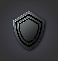 black antivirus shield on a gray background vector image