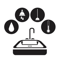 black silhouette bath with circular frame icon vector image