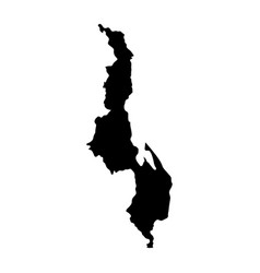 black silhouette country borders map of malawi on vector image