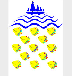 Boat and fish vector