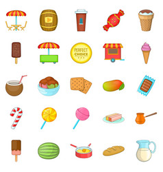 candy icons set cartoon style vector image