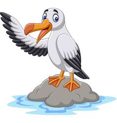 cartoon cute albatross waving vector image