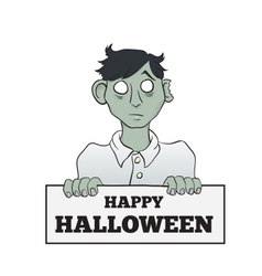 Cartoon Melancholy Zombie with Sign vector image