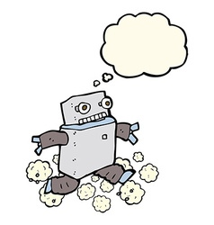 Cartoon running robot with thought bubble vector