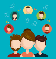 character teamwork social network concept design vector image