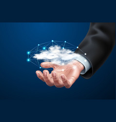 cloud computing man holding with dots vector image