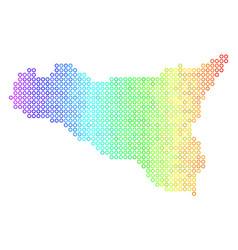 colored cirle dot sicilia map vector image