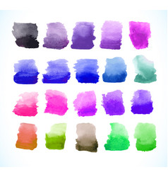 Colorful watercolor splashes set vector