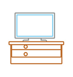 computer and desk icon vector image