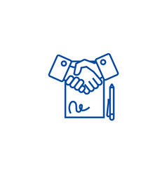 Contract line icon concept contract flat vector