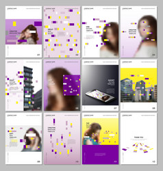 creative brochure templates with colorful elements vector image