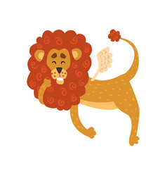 Cute funny lion cartoon character with wings vector