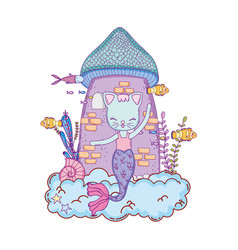 cute purrmaid with tower of castle undersea vector image
